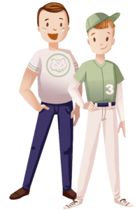 Baseball player and his father