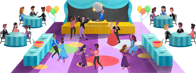 Multiple students dancing and socializing at tables at their school prom